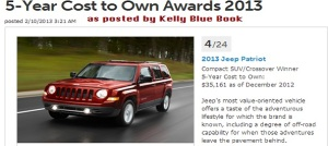 KBB 5-Year Cost to Own Award 2013 Jeep Patriot
